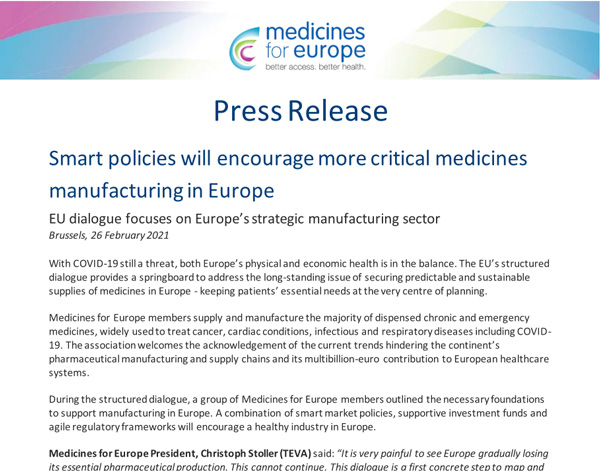 Medicines for Europe - Press Release